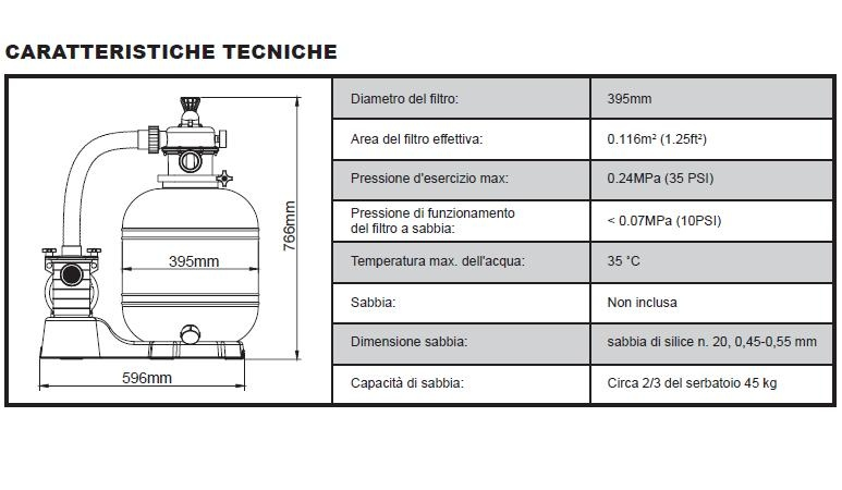 Pompa a sabbia per piscine Filtro a Sabbia da 5.678 Lt/H. Bestway 58404