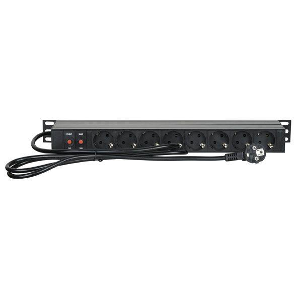 "SHOWTEC 19"" 1U MAIN POWER STRIP 16 Controllo anteriore e posteriore"