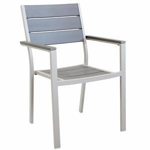 Sedia da giardino impilabile CERVIAS in polywood ed alluminio TORTORA