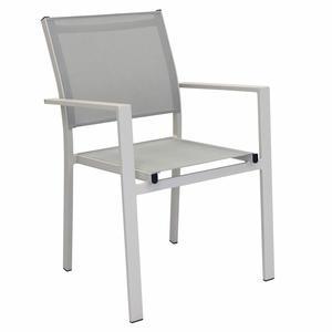 Sedia impilabile da giardino JAMA BRACCIOLI in textilene e alluminio TORTORA