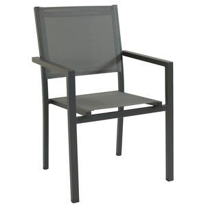 Sedia impilabile da giardino JAMA BRACCIOLI in textilene e alluminio TAUPE
