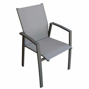 Sedia impilabile da giardino MALI BRACCIOLI in textilene alluminio TAUPE