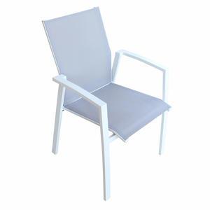 Sedia impilabile da giardino MALI BRACCIOLI in textilene  GRIGIO alluminio bianco