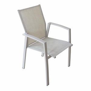 Sedia impilabile da giardino MALI BRACCIOLI in textilene e alluminio TORTORA