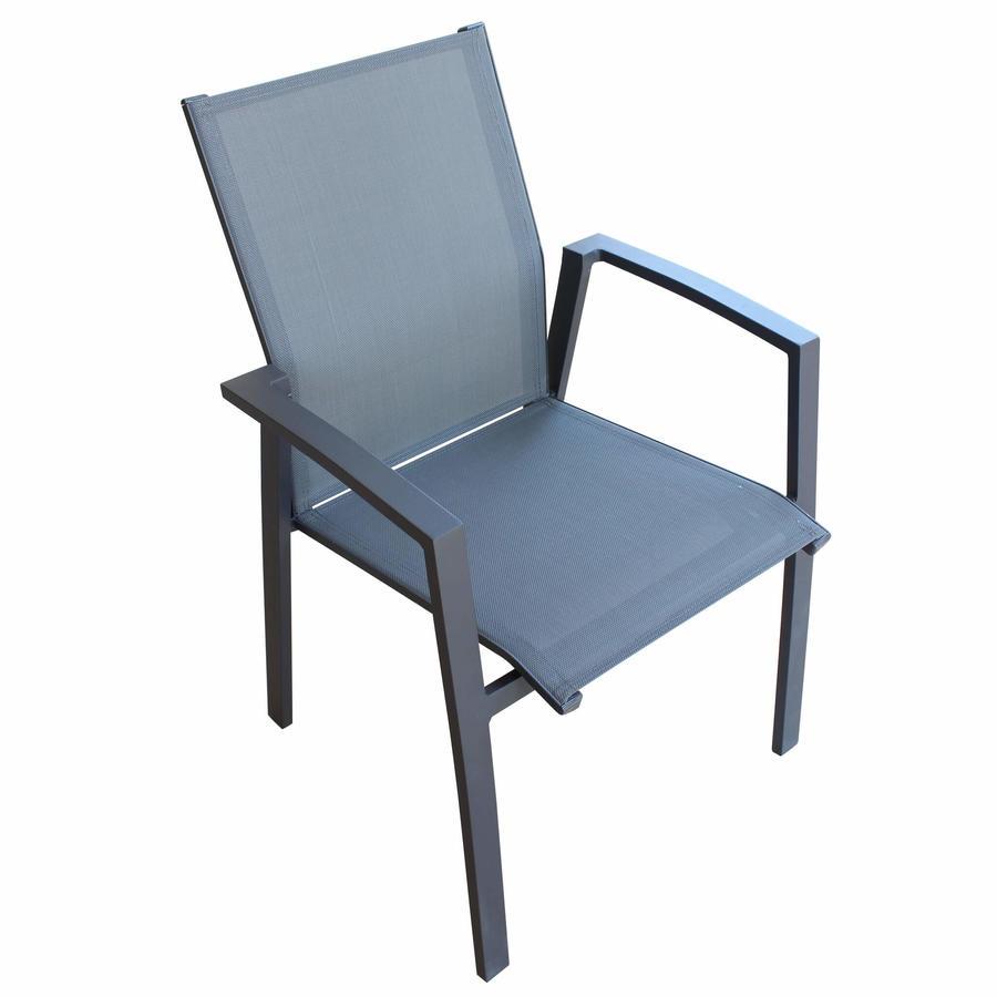 Sedia impilabile da giardino MALI BRACCIOLI in textilene e alluminio ANTRACITE