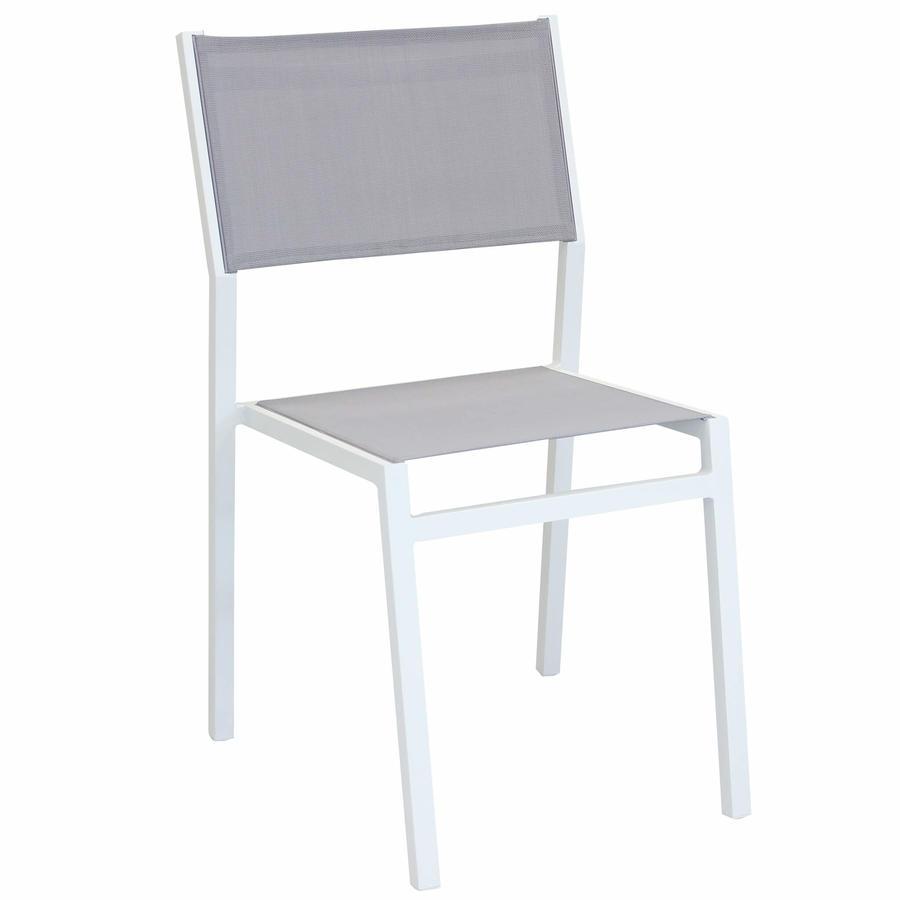 Sedia impilabile da giardino AVANAS MINI in textilene grigio e alluminio bianco