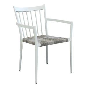 Sedia da giardino in alluminio SAN MARTINO POLTRONA  impilabili seduta polyrattan BIANCA