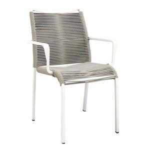 Sedia poltrona da giardino in acciaio CATANIA BIANCA con seduta in corda