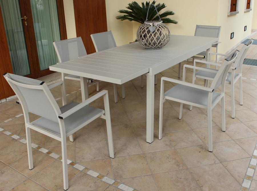 TAVOLO da giardino rettangolare alluminio TORTORA FORMENTERAS 160 /240 X 90 da esterno