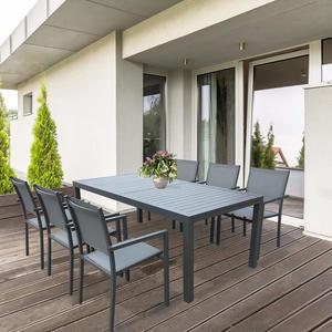 TAVOLO da giardino rettangolare alluminio ANTRACITE FORMENTERAS 160 /240 X 90 da esterno