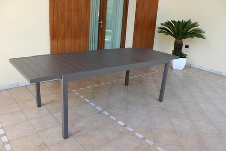 TAVOLO da giardino rettangolare alluminio TAUPE FORMENTERAS 200 /300 X 100 da esterno