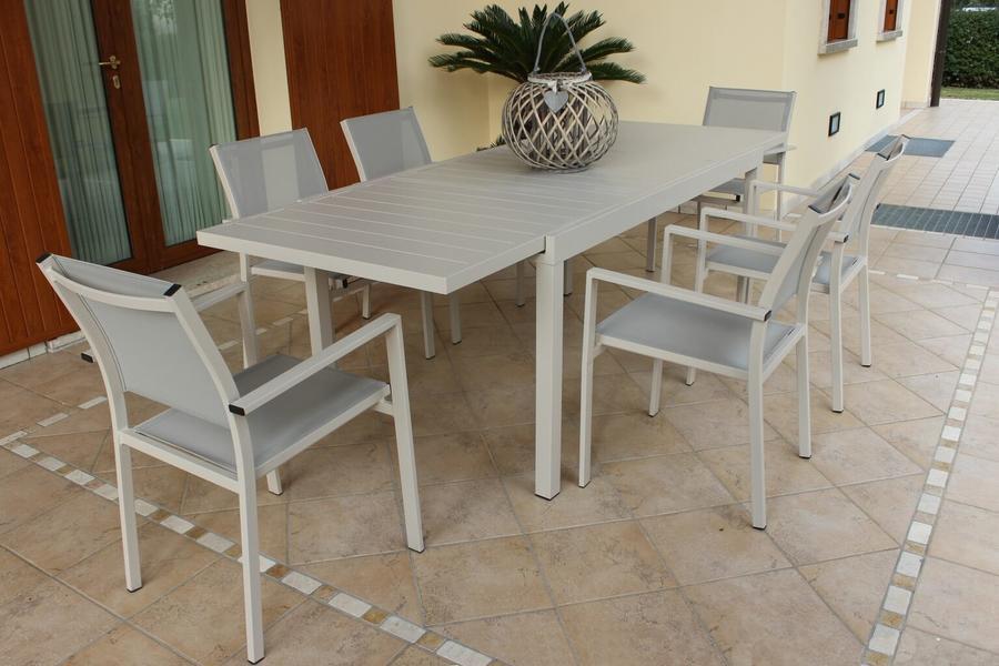 Tavolo da giardino allungabile FORMENTERAS in alluminio TORTORA cm 200/300 x 100 x 74 h
