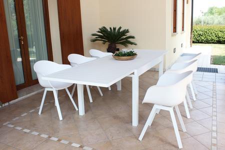 Tavolo da giardino allungabile HAWAII in alluminio BIANCO cm 130 / 270 X 90 H 75