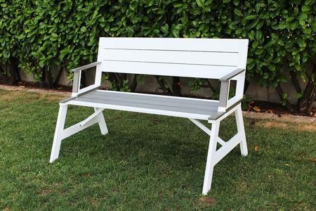 Panchina da giardino in alluminio BIANCO che diventa tavolo CASTEO seduta polywood grigio