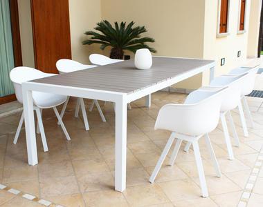 Tavolo da giardino allungabile WAIKIKIS in alluminio BIANCO cm 162/242  x 100 x 74 h piano polywood