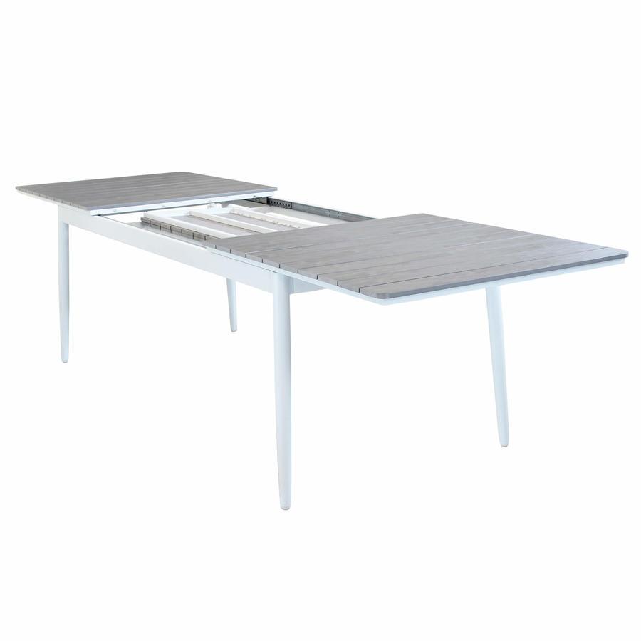 Tavolo da giardino in alluminio BIBBIONE MAXI BIANCO 200 / 300 x 90 h 76 piano polywood ruvido grigio colore grigio
