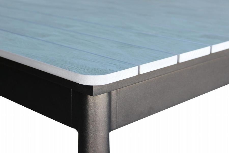 Tavolo da giardino in alluminio BIBBIONE MAXI ANTRACITE 200 / 300 x 90 h 76 piano polywood ruvido grigio colore grigio