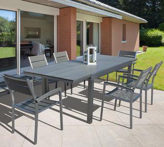Tavolo da giardino BARBADONES ALLUNGABILE 180/240 X 95 in alluminio spazzolato e polywood grigio