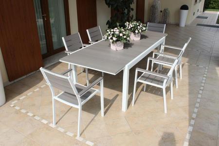 Tavolo da giardino in alluminio PEDAVENA BIANCO 180 / 240 x 100 h 73 piano polywood ruvido grigio colore grigio