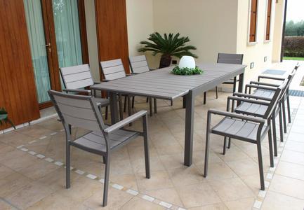 Tavolo da giardino in alluminio PEDAVENA TAUPE 180 / 240 x 100 h 73 piano polywood ruvido grigio colore grigio