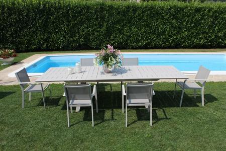 Tavolo alluminio da giardino ZANZES TORTORA allungabile 200 x 300 x 110 pesante e massiccio