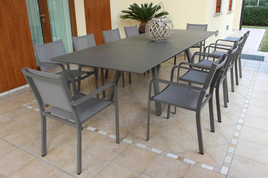 Tavolo alluminio da giardino ZANZES TAUPE allungabile 200 x 300 x 110 pesante e massiccio
