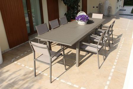 Tavolo da giardino in alluminio CUBANO MINI ALLUNGABILE misura 150/210 X 90 TAUPE