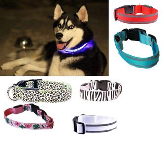 5X COLLARE PER CANE CANI A LED LUMINOSO TG S/M/L SICUREZZA LED NOTTURNO CLIP FANTASIA