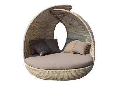 Salotto da giardino esterno lettone tondo PALMAS con cuscini in alluminio e wicker NOCCIOLA