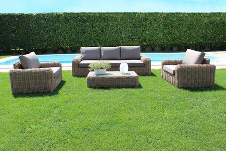 Salotto da giardino in alluminio MADAGASCAR MAXI wicker  naturale divano 3 posti