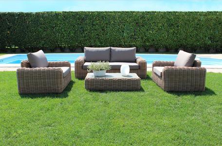 Salotto da giardino in alluminio MADAGASCAR MINI wicker  naturale divano 2 posti con poltrone e tavolino