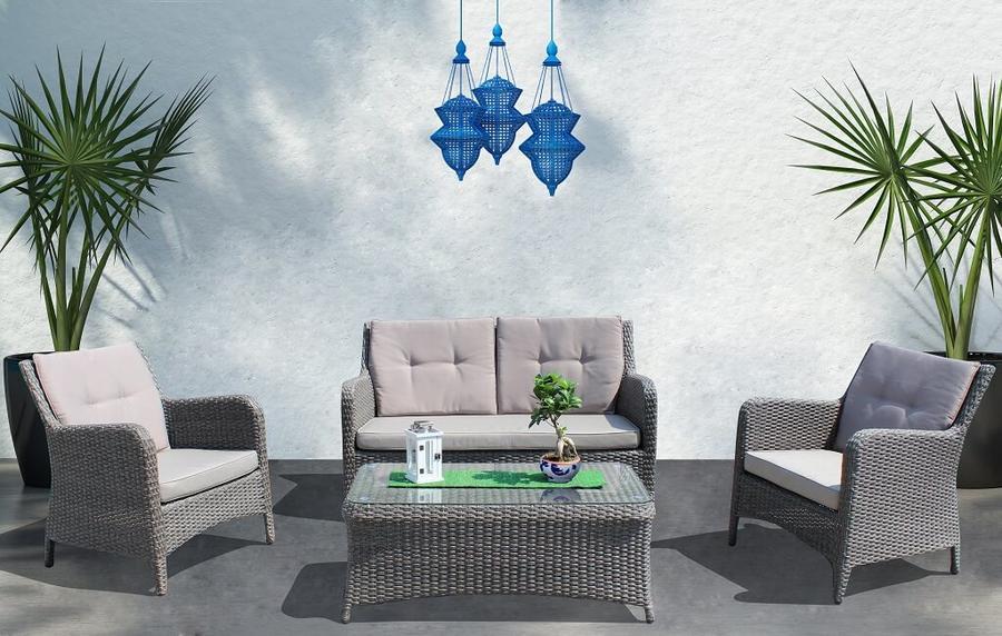 Salotto da giardino TREVILLE in alluminio wicker GRIGIO SCURO 2 posti