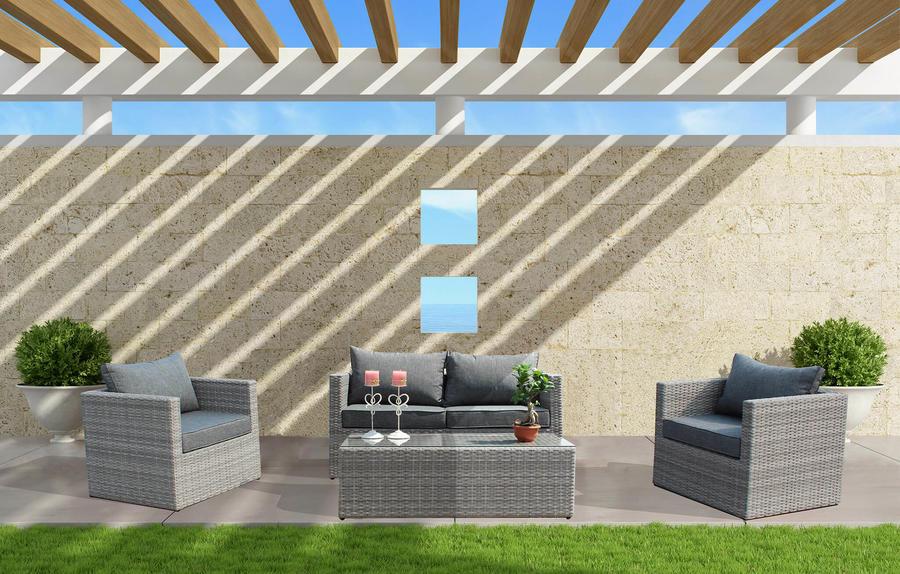 Salotto da giardino in alluminio ALBEROBELLO 2 POSTI con divano 2 posti 2 poltrone e tavolino in wicker grigio