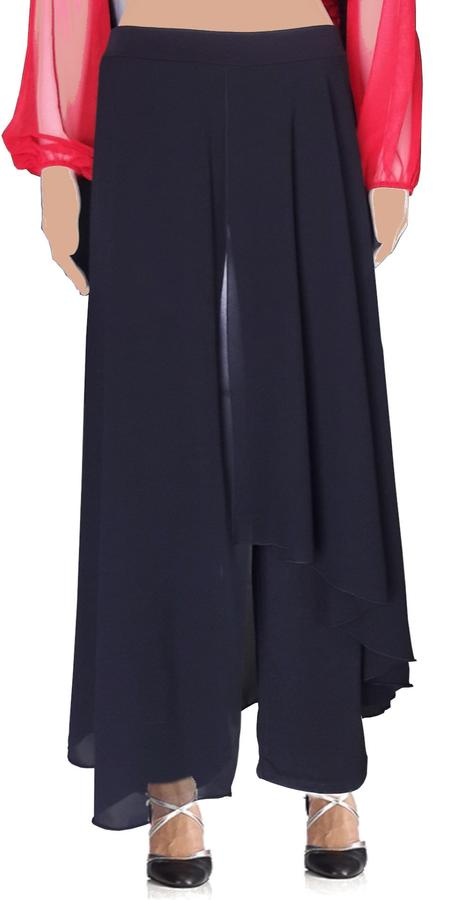 DOUBLE KNIT TROUSERS WITH ASYMMETRICAL CHIFFON PANELS 1-0026