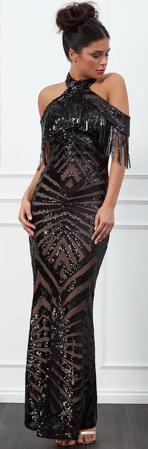 0578 NUDE LOOK DRESS IN EMBROIDERED TULLE WITH BLACK LINED SEQUINS AND HALF ARM WINGS