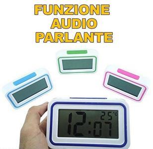 SVEGLIA OROLOGIO DIGITALE SCHERMO LCD PARLANTE TASTO AUDIO ITALIANO PER IPOVEDENTI