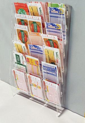 Espositore da parete per schede Lotto, Super Enalotto e Gratta e Vinci a 18 tasche