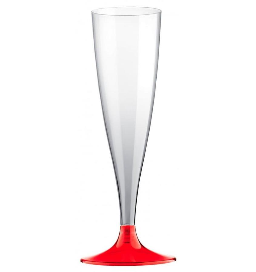 BICCHIERI CALICI FLUTE IN PLASTICA TRASPARENTE GAMBO ROSSO 6 PEZZI CHAMPAGNE