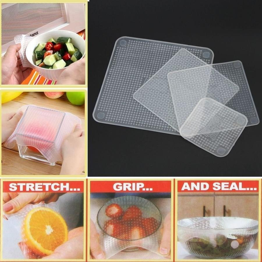 Set di 4 PELLICOLE per Alimenti RIUTILIZZABILI E Lavabile Stretch And Fresh