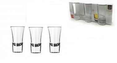 Set 3 Bicchierini In Vetro Shot liquore caffè Grappa Amaro Limoncello 6CL