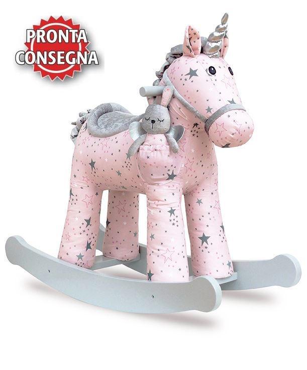 Cavallo a Dondolo Unicorno Celeste e Fae Rosa e Bianco Versione da 12 Mesi di Little Bird Told Me