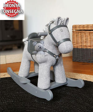 Cavallo a Dondolo in Tessuto Stirling & Mac Rocking Horse da 9 Mesi con pupazzetto di Little Bird Told Me