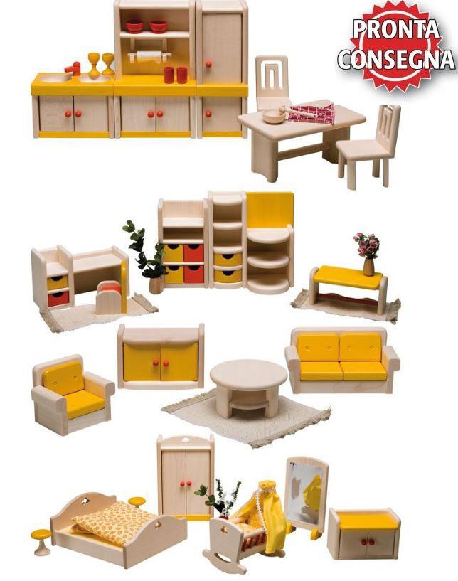 """Set di Mobili per Casa delle Bambole """"Filius"""" di Rulke Holzspielzeug"""