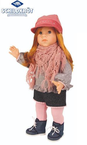 Bambola da Collezione in Vinile Elli Alta cm 52 con Cappellino e Sciarpa di Schildkrot Qualità Made in Germany
