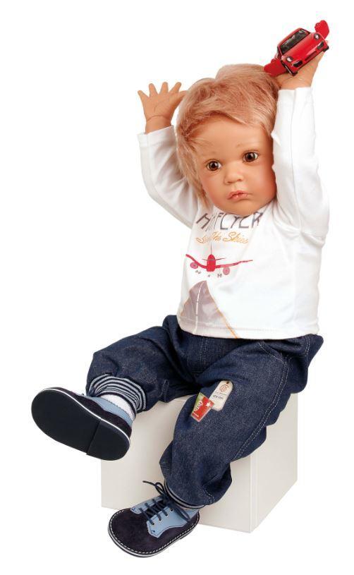 Bambola da Collezione in Vinile Aaron Maschietto di Gudrun Legler Alta cm 60 di Schildkrot Qualità Made in Germany