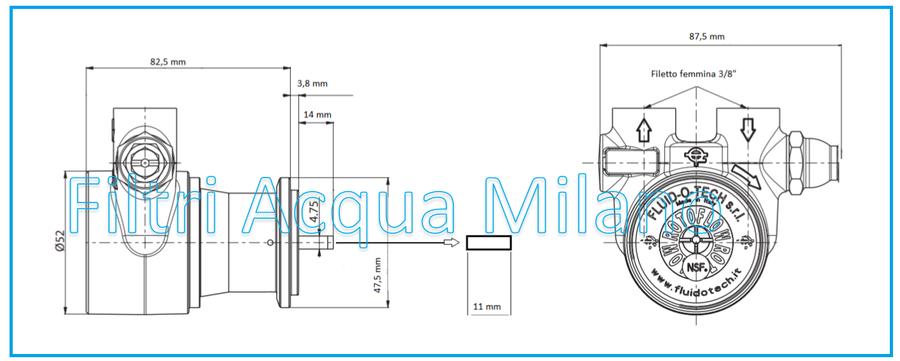 Pompa Fluid O Tech 100/150/200/300/400 litri ora per depuratori osmosi inversa.
