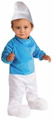 Costume Carnevale PUFFO Bambini Bambino 1/2 Anni Azzurro E Bianco Travestimenti PUFFI TAGLIA S