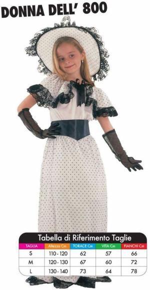 Costume di Carnevale Donna dell'800 4/6 Anni Vestito Travestimento Bambina per Festa Taglia S