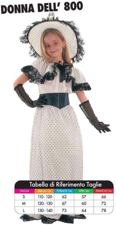 Costume di Carnevale Donna dell'800 5/7 Anni Vestito Travestimento Bambina per Festa Taglia M