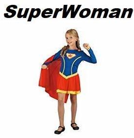 Costume di Carnevale Superwoman 8/10 Anni Travestimenti SuperGirl Bambina TAGLIA L